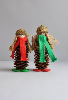 Swedish Style Pinecone Girls  Ornament by MisterTrue on Etsy, $12.00