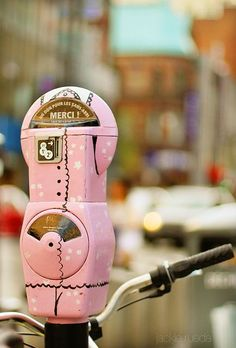 Pink Parking Meter... Merci indeed.