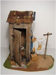 Scale Dollhouse Miniature outhouse - This is tiny. Just the right size for a fairy garden. I mean, Fairies have to use a 'powder room' once in a while too, don't they? :-)outhouse - This is tiny. Just the right size for a fairy garden. Mini Fairy Garden, Fairy Garden Houses, Gnome Garden, Fairies Garden, Big Garden, Fairy Garden Furniture, Fairy Tree, Fairy Crafts, Ideias Diy