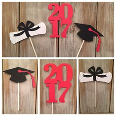 Celebrate your graduates accomplishment with custom cupcake toppers matching their school colors! This listing is for 6 cupcake toppers (two of each of the following): (1) 2016, (2) graduation cap and (3) diploma. * can be made for 2016 or 2017 graduates… Please specify in the comment section!  Default color scheme is royal blue and yellow as shown in the display photo, but custom colors are available upon request! Please note in the note to seller section. Coordinating items:  Graduation…
