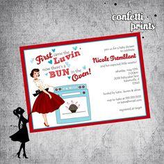 Retro Baby Shower Invitation - BUN In The OVEN Printable via Etsy