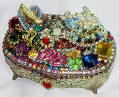 Vintage Silver Jewelry Box w/ Vintage Colorful Rhinestone Carriage, Dancing Lady, High Heel & Clock Heart