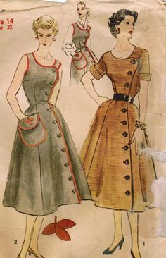 both dress, 40s antique/vintage/durable, heavy material, colors, piping, offcenter buttons