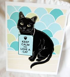 Keep Calm Black Cat with Scaled Background - 8x10 Eco-friendly Print. $16.00, via Etsy.