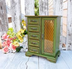 Large Green SHABBY CHIC Jewelry Box / Armoire Cabinet Case