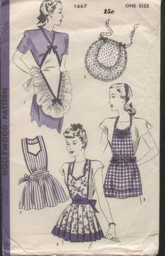 Vintage 1940s Apron Pattern Hollywood 1667 Ribbon Halter Bib Versatile Skirts | eBay