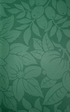 Copacabana Wallpaper Teal green two tone wallpaper with fruit and leave pattern