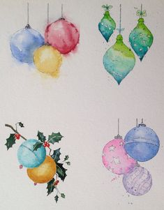 Ideas for watercolour Christmas cards trawled from around the net and demonstrated for my class.