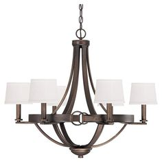 Highlighting an Old World silhouette with petite flared shades and a rich tobacco finish, this handsome chandelier creates an eye-catching focal point in you...