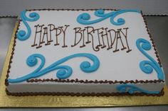Lettering Happy Birthday Sheet Cake by Stephanie Dillon, Hy-Vee Cake Decorating Techniques, Cake Decorating Tips, Cookie Decorating, Pastel Rectangular, Dairy Queen Cake, Cakes By Stephanie, Sheet Cake Designs, Slab Cake, Birthday Sheet Cakes