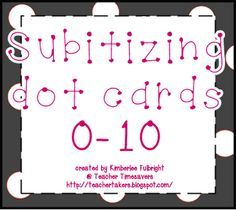 This pin leads you to Kimberlee's website which has Commom Core friendly games and ideas for use in both kindergarten and first grade ----all free! subitizing dot cards