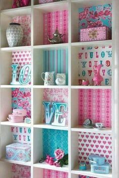 This is a cute way to add fun to the girls shelving unit.