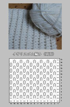 イギリスゴム編み(両面の編み図と編み上がり作品