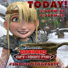 Join in on the Twitter Watch Party today at 5:00pm PT/ 8:00pm ET! Tweet along with us with #SnoggletogParty for a chance to win awesome Dragon prizes! http://bit.ly/DragonsHolidayPartyFB