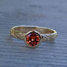 Chatham Padparadscha Sapphire and Recycled 14k Yellow Gold Ring