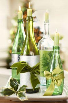 Repurposed wine bottles via Hummingbird Cottage