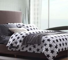 Star Patterned black&white bedding Set 4 Pcs Bed Quilt/Duvet Cover set GIft