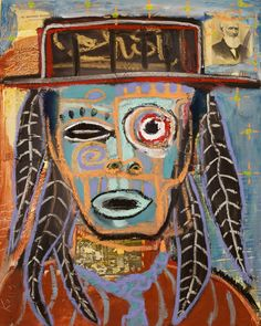 """""""Medicine Man"""" by Kelly Moore who paints at the Tesuque Reservation Flea Market in New Mexico"""