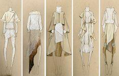 bocetos de diseño de moda usar la pluma blanca