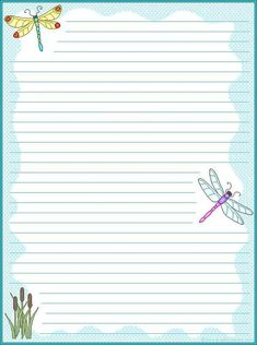 Printable Stationery Dragonflies (lined)  Lined Stationary Template