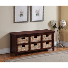 6 Basket Cherry Storage Console | Overstock™ Shopping   Great Deals On  Broyhill Benches
