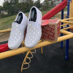 Reflective LV Checkered Slip-On Vans by customsbyuriel Custom Vans For Sale, Custom Vans Shoes, Vans Shoes Fashion, Vans Shoes Women, Vans Men, Hello Kitty Vans, Cute Vans, Vanz, Vans Outfit