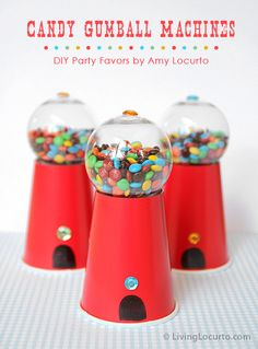 diy gumball machine party favors - cute!~a cup, a plastic christmas tree ornament and small candy~looks easy enough!