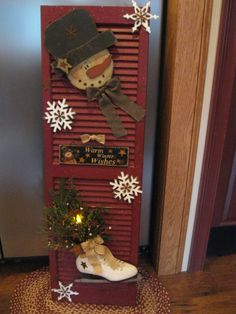 snowman made from old shutter – Yahoo Image Search Results - rigcrang. Christmas Porch, Primitive Christmas, Christmas Signs, Rustic Christmas, Winter Christmas, All Things Christmas, Christmas Holidays, Primitive Snowmen, Wooden Snowman Crafts