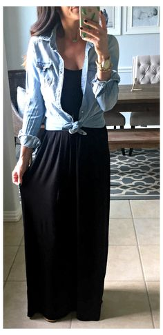 Black Dress Outfits, Casual Dresses, Casual Outfits, Dress Black, Maxi Dresses, Black Maxi Skirt Outfit, Maxi Skirt Style, Maxi Skirts, Casual Clothes