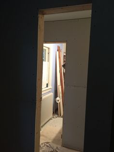 Looking through bedroom 3/linen closet, drywall after day 1 - 9/23 78e