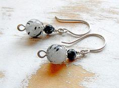 Grey Earrings Small Drop Earrings Everyday Jewellery by bluetina