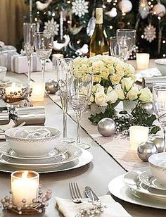 Silver & White Holiday Table