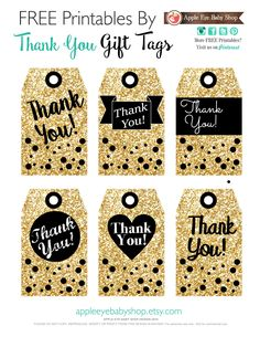 FREE Printables THANK YOU! GIFT TAGS Gold Glitter, Black, White, Hearts, Confetti. Endless inspiration: DIY Crafts, Garland, Notecards, Scrapbooking, Banners, Paper Goods, Favor Tag, Wrap Present, Silhouette or Cricut Projects, Mason Jar Tags, Holiday Tag, Decorative Detail, Christmas, Birthday Celebrations, Baby Showers, New Years, Bridal Showers, Weddings and more. Enjoy! By Apple Eye Baby Shop