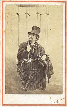 Felix Nadar in a balloon, late 1860's / photographer Felix Nadar