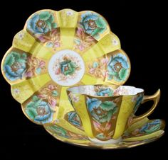 rare patterned antique china tea trio (cup, saucer and rounded plate) by Wileman & Co.
