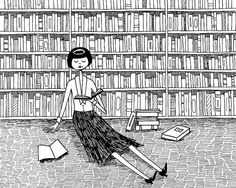 She just wanted to read books and do nothing else // 8x10 book lover bookworm black and white art print