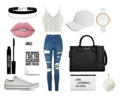 """""""casual school outfits (white)"""" by hajarlamine on Polyvore featuring mode, WithChic, Topshop, Converse, Karl Lagerfeld, Charlotte Russe, River Island, Miss Selfridge, Boohoo et Lime Crime"""