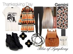 """Thanksgiving Day-Gemini"" by blueofsymphony ❤ liked on Polyvore featuring J Brand, Tarxia, Barneys New York, Lauren B. Beauty, Topshop, Burt's Bees, Feather & Stone and Tory Burch"