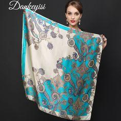 Rare Offer $19.50, Buy DANKEYISI Big Size Silk Square Scarf Women Fashion Brand High Quality Genuine 100% Silk Scarf Female Shawl Hijab 90cm*90cm 2017