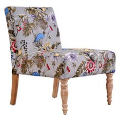 The angelo:HOME Bradstreet armless chair combines modern design with traditional details. The Bradstreet armless accent chair is covered in an antique floral bird fabric. Floral Accent Chair, Floral Chair, Floral Furniture, Furniture Chairs, Funky Furniture, Antique Furniture, Armless Accent Chair, Accent Chairs, Antique Chairs