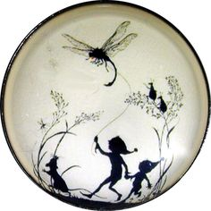 Crystal Dome Button Fairy Silhouette w/ Dragonfly Kite LgSz  F 54 FREE US SHIP