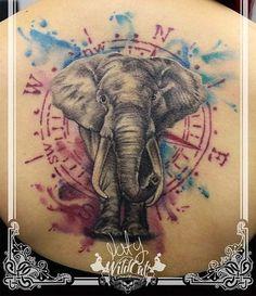 Un elefantito en la espalda ya cicatrizado #elephant #elephanttattoo #compass…