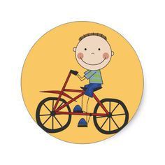 Boy on Bicycle Tshirts and Gifts Round Sticker
