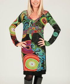 Aller Simplement Black & Green Pattern Patchwork V-Neck Dress | Something special every day