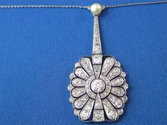 Diamond & Pearl, Platinum Antique Necklace
