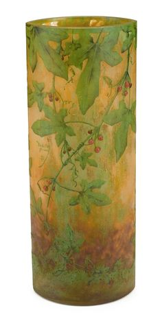 Daum acid-etched, enameled and applied glass vase with holly and berries  nancy, france, circa 1910  Signed in relief to body Daum Nancy with Cross Lorraine.