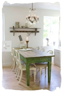 Antique White Kitchen Cabinets, More: White Kitchen Remodel Before and After, White Kitchen Remodel On A Budget, White Kitchen Ideas Farmhouse, White Kitchen Ideas Modern. Rustic Farm Table, Farmhouse Table, Farm Tables, Dining Tables, Rustic Wood, Farmhouse Chic, Dining Set, Sweet Home, Green Table