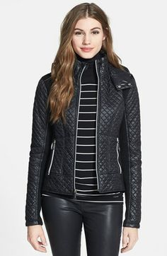 BCBGeneration Hooded Front Zip Quilted Jacket | Nordstrom - I like this jacket - Has a moto feel to it - looks nice and fitted
