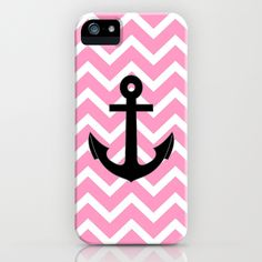 Pink Chevron Anchor iPhone Case