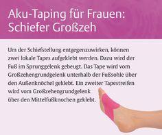 """High Heels assen unseren Großzeh schief werden Um dieser Schiefstellung entgegenzuwirken, können Sie 2 lokale Tapes anlegen. Weitere passgenaue Tape-Anlagen finden Sie im Ratgeber """"Aku-Taping für Frauen""""."""